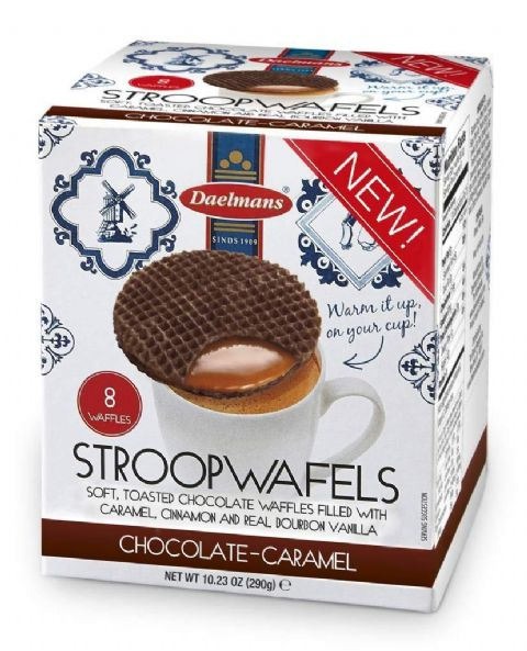 Chocolate Caramel Wafers Dutch Waffles Biscuits Stroopwafels Daelmans 8 Pack Box 290g